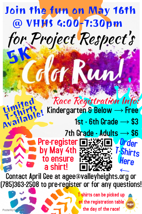 Color Run @ VHHS on May 16th 4-7:30pm