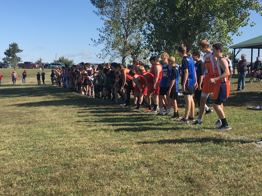 Starting line for the boys varsity race.