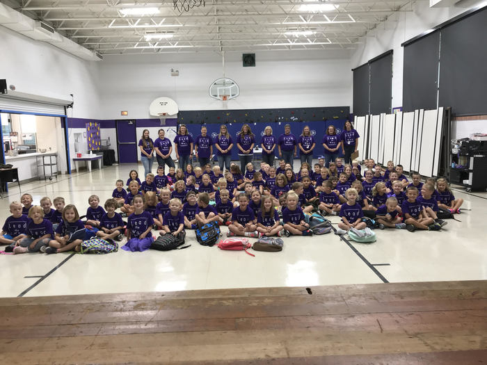 Waterville students and staff enjoy new 'Lead the Way' t-shirts donated by local businesses.