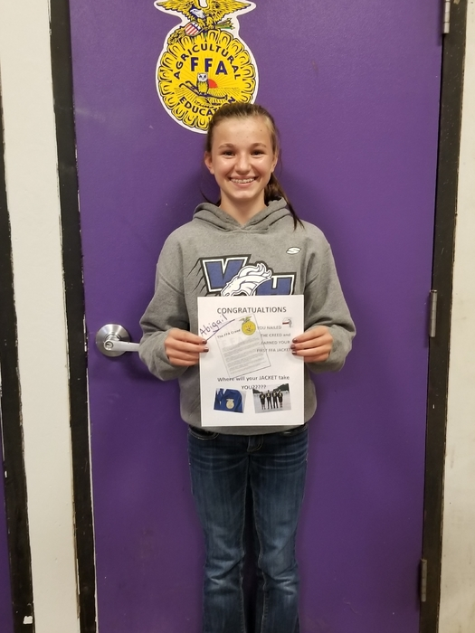 Abigail Steinfort earned her first FFA jacket by reciting the FFA creed