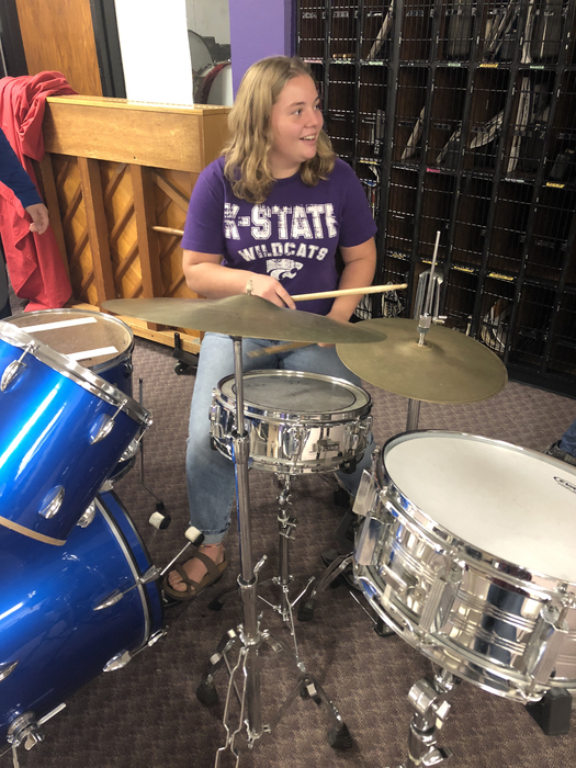 Madisen Hanson learning the trap drum set