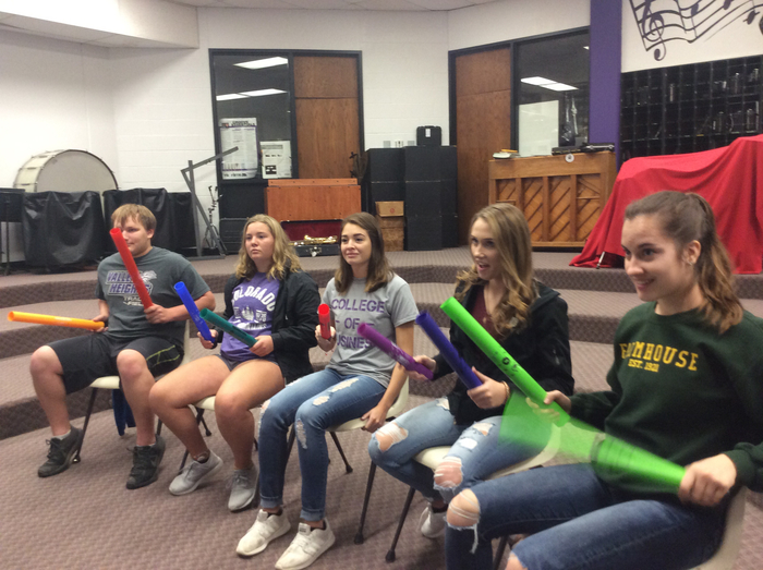 Seniors using the boomwhackers
