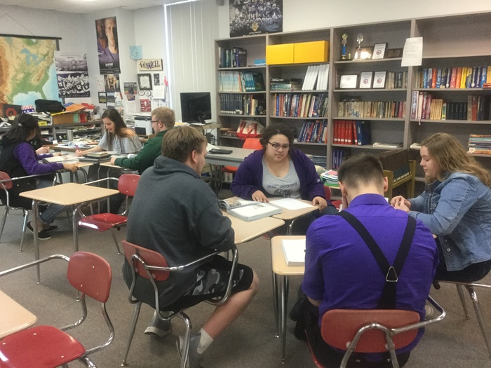 "Seniors in small group discussion on ""Liberty v. Order"""