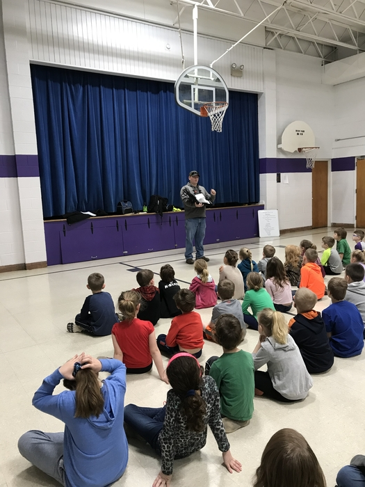 Kyle Brooks tells the Waterville students about working on the Railroad