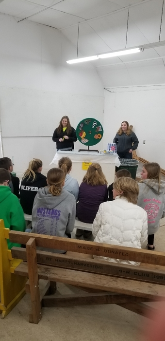 Rylie and Madisen presenting on ag trivia