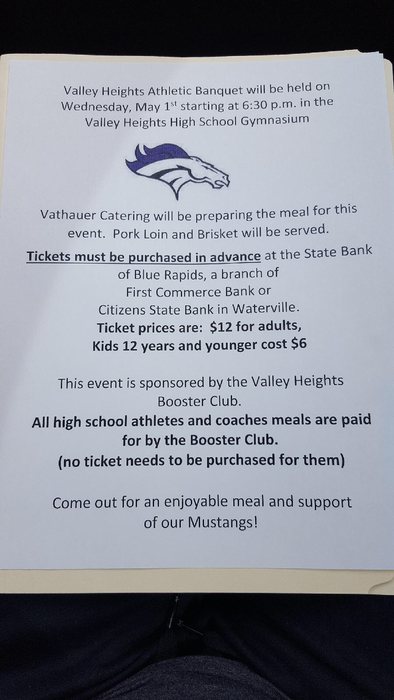 Athletic banquet ticket information.