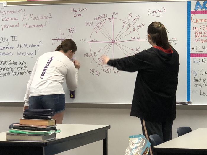 Sam Hardin and Mydajah Little graphing and solving trig functions.
