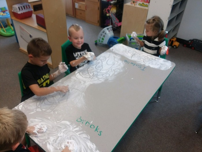 21st CCLC Colts Round-Ups KinderPrep class is getting messy writing their names in shaving cream! #AfterschoolWorks