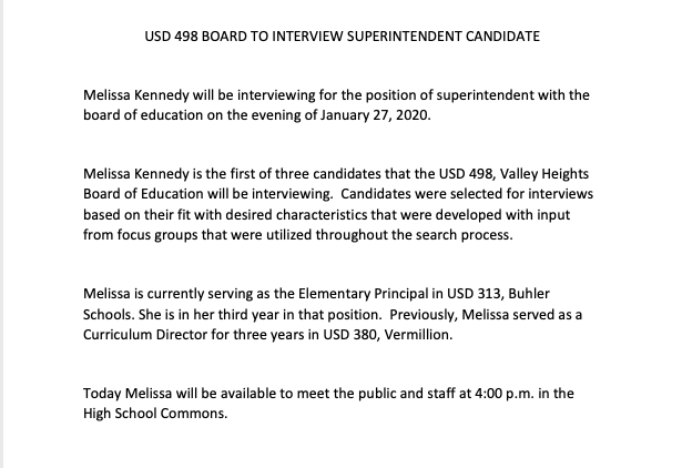 Superintendent interview