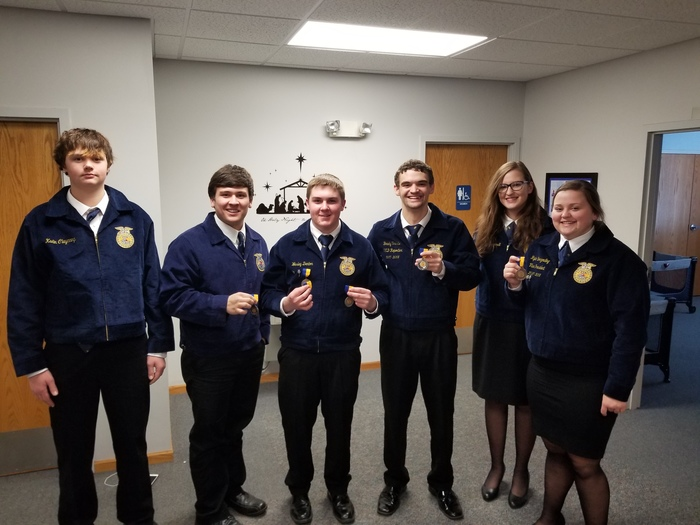 Speech and Job Interview Participants with their metals.  Kadin C, Dalton J, Wes D, Brady T, Sophie B, Rylie B